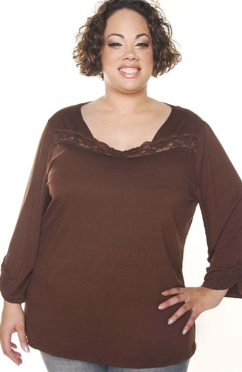 Beautiful in Brown Lace Trim Autumn Plus Size Top :  trendy plus size plus size clothes kathys curvy corner lace