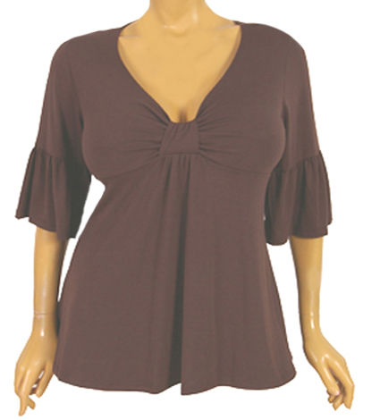 Beautiful in Brown Bell Sleeve Sweetheart Top :  bell trendy plus size full figured plus size fashions