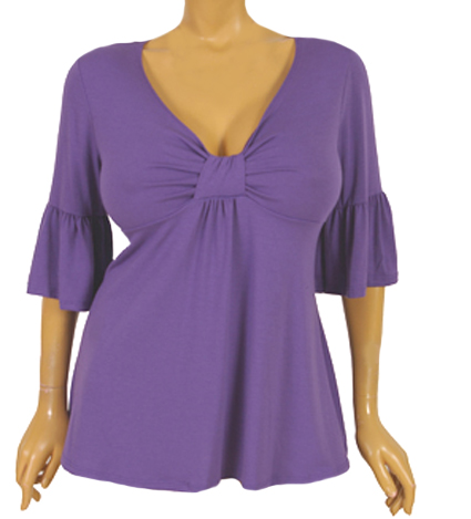 Positively Purple Bell Sleeve Sweetheart Plus Size Top :  trendy plus size kathys curvy corner blouse purple shirt