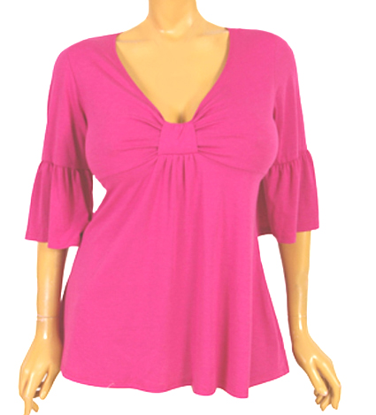 Fuschia Pink Bell Sleeve Sweetheart Plus Size Top