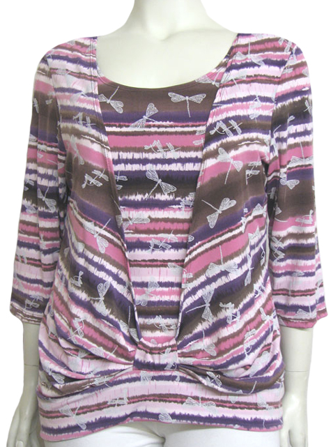 Brown / Pink Stylish Mock Layer Plus Size Top :  trendy plus size brown womens clothing scoop neck