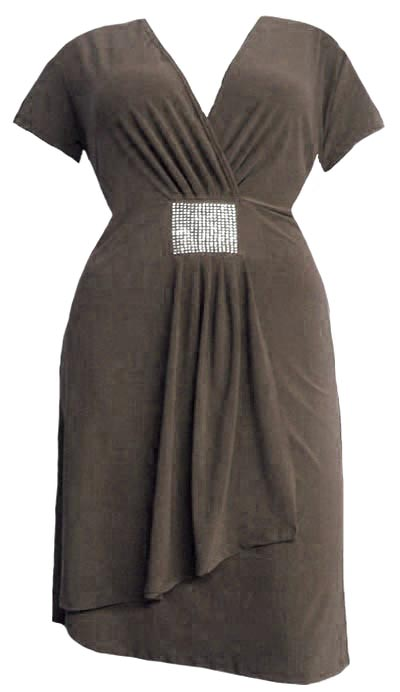Deep Autumn Brown Mock Wrap Dress - Plus Size :  trendy plus size plus size clothing kathys curvy corner plus size fashions