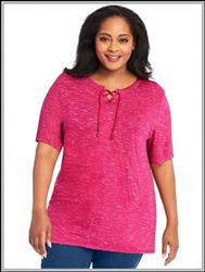 Berry Delight Space Dyed JMS Lace-Up Tunic Top